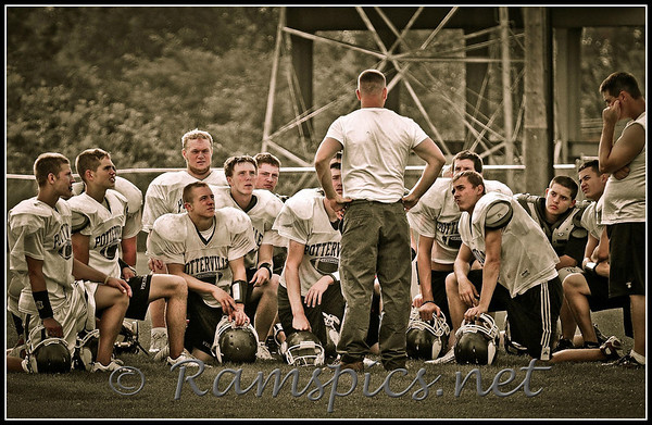 "Potterville High School Vikings football team getting ""coached"" by 2009 MHSAA coach of the year Mike Selzer."