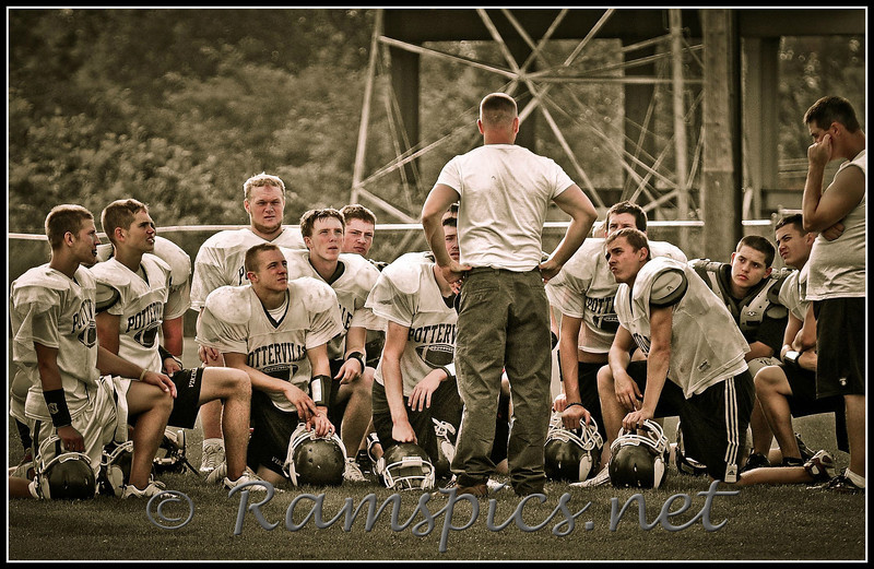 """Potterville High School Vikings football team getting """"coached"""" by 2009 MHSAA coach of the year Mike Selzer."""
