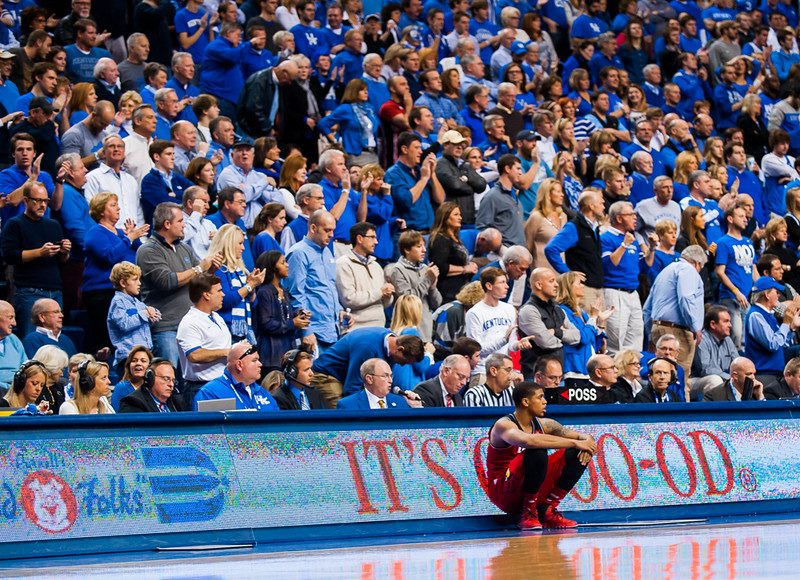 Wayne Blackshear (no. 20) waiting to enter game during a regular season game for the University of Louisville VS University of Kentucky on 12-28-13 at Rupp Arena in Lexington, Kentucky.