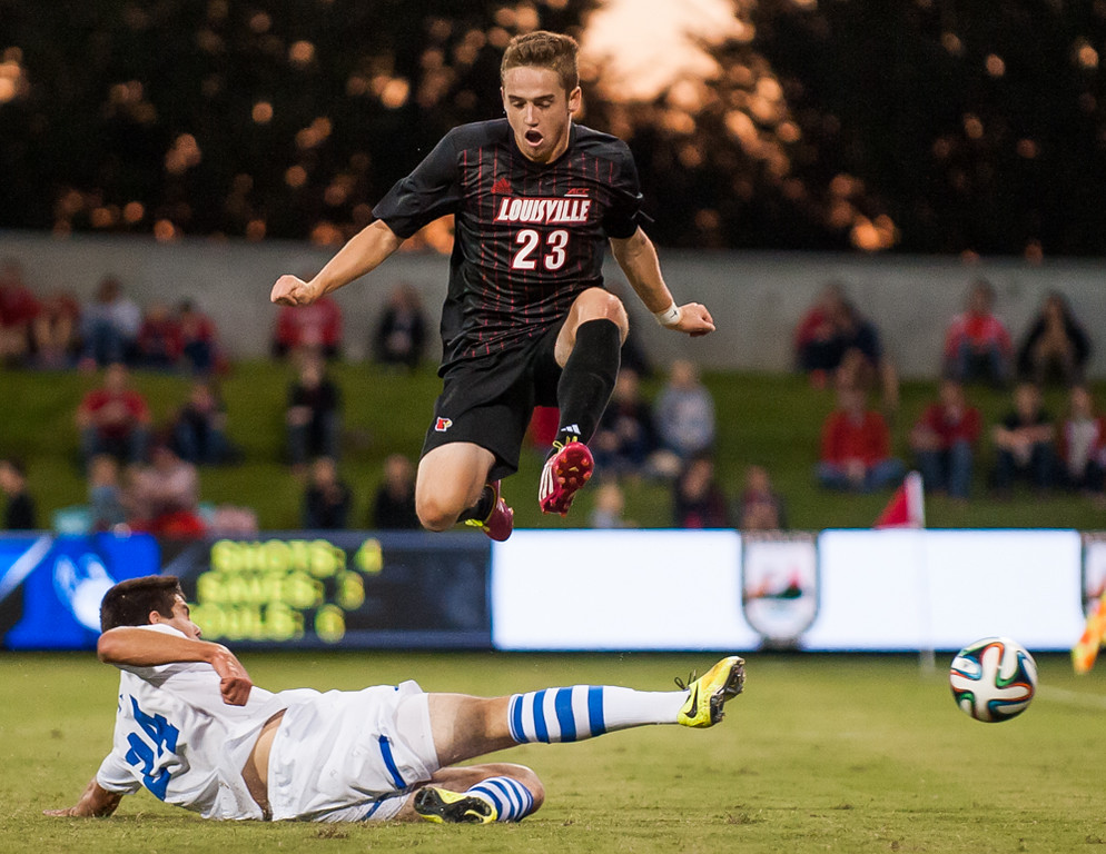 Shane Campbell (no. 23) of the men's soccer team playing in a regular season game for the University of Louisville VS Duke on 9-13-14 in Louisville, Kentucky at Lynn Stadium.