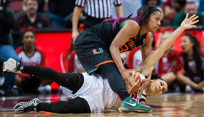 Bria Smith (no. 21) of the women's basketball team playing in a regular season game for the University of Louisville VS Miami on 1-25-15 in Louisville, Kentucky at the KFC Yum Center.