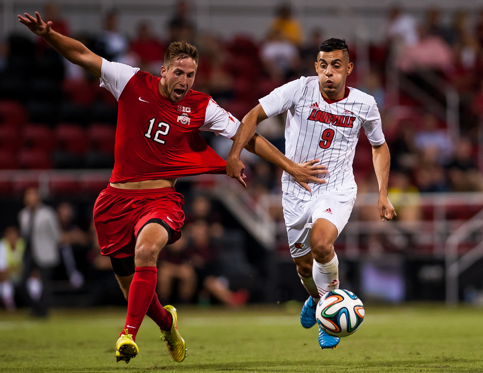Ricardo Velazco (no. 9) of the men's soccer team playing in a regular season game for the University of Louisville VS Ohio State on 9-30-14 in Louisville, Kentucky at Lynn Stadium.