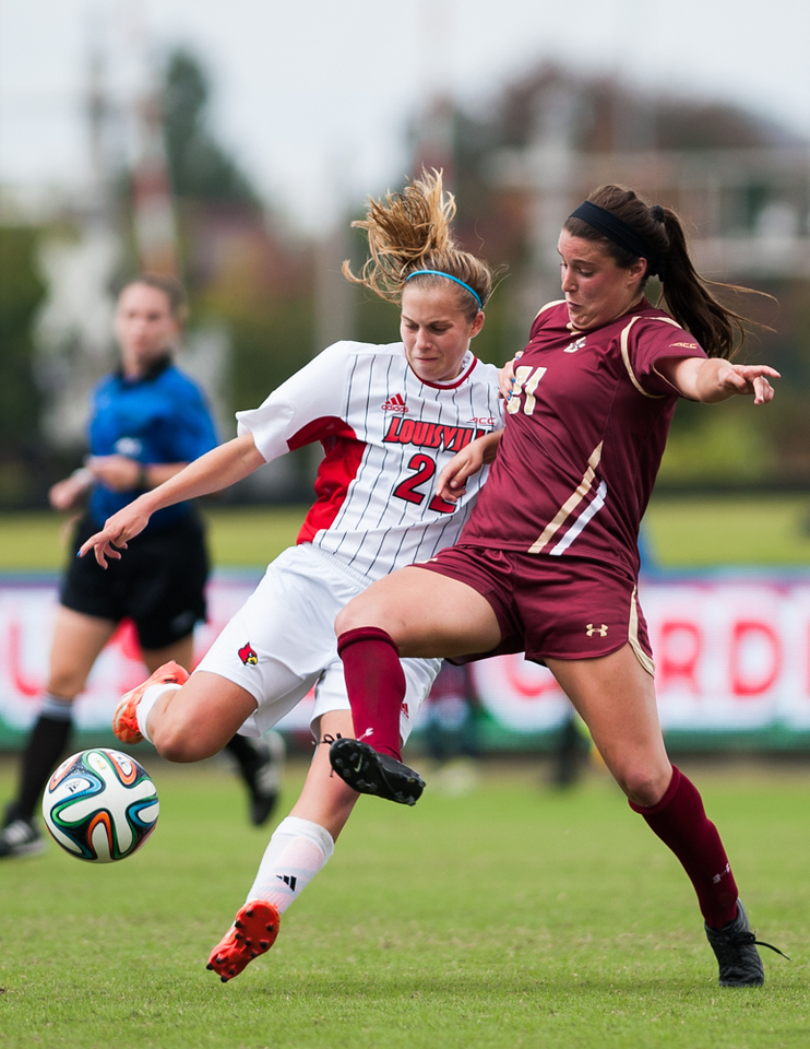 Kaela Dickerman (no. 22) of the women's soccer team playing in a regular season game for the University of Louisville VS Boston College on 10-12-14 in Louisville, Kentucky at Lynn Stadium.