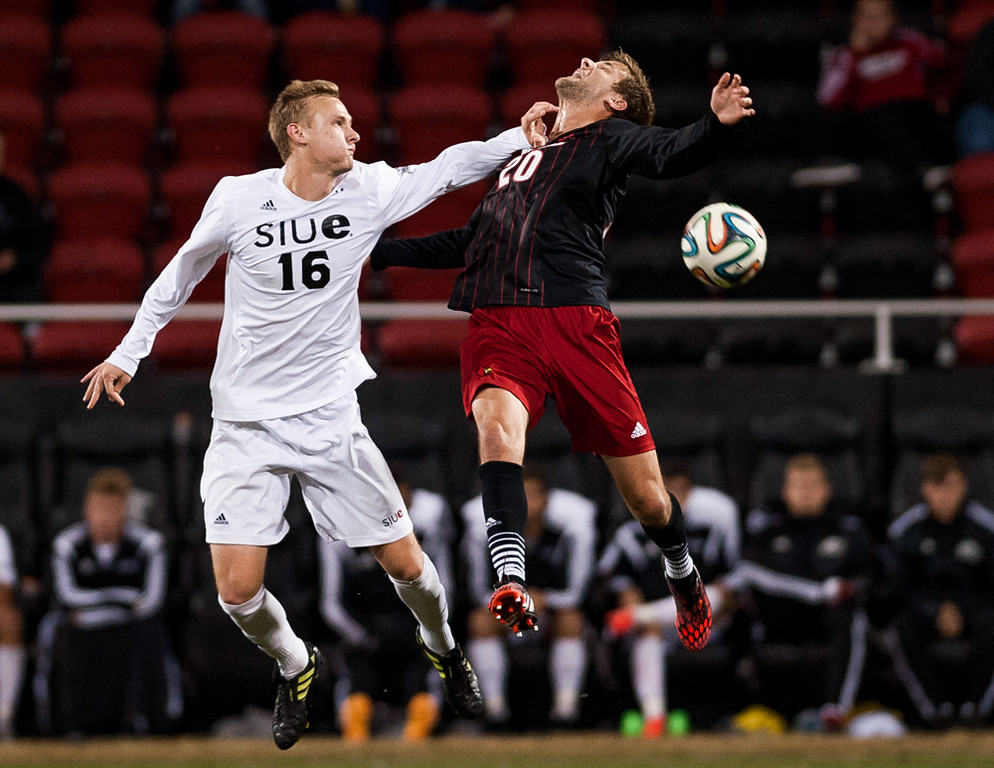 Daniel Keller (no. 20) of the men's soccer team playing in a regular season game for the University of Louisville VS SIUE on 10-28-14 in Louisville, Kentucky at Lynn Stadium.