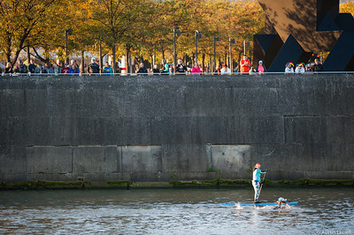 Ironman Louisville 2016 contestant no. 293, Alexander Mccrohan,  swims past spectators along the Ohio River in the swimming portion of the race. Alexander is a 44 year old from Arizona who placed first in the 45-49 division and first overall in swimming with a time of 46:59.. The Ironman Louisville 2016 took place on 10-9-16 and is the 10th anniversary of the race occuring yearly in Louisville, Kentucky.
