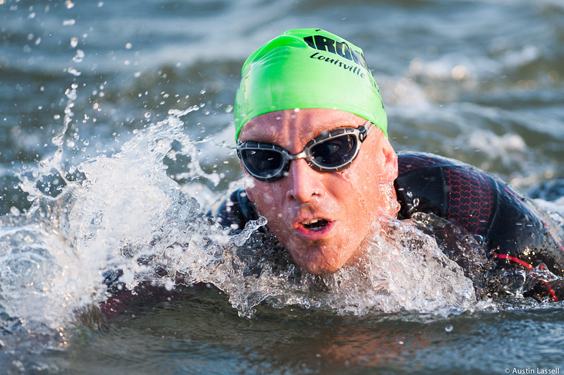 An Ironman Louisville 2016 contestant competes near the finish of the swimming portion of the race. The Ironman Louisville 2016 took place on 10-9-16 and is the 10th anniversary of the race occuring yearly in Louisville, Kentucky.