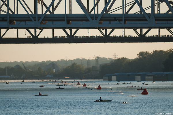 Ironman Louisville 2016 contestants swim down the Ohio River in the swimming portion of the race. The Ironman Louisville 2016 took place on 10-9-16 and is the 10th anniversary of the race occuring yearly in Louisville, Kentucky.