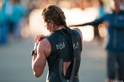 Ironman Louisville 2016 contestant no. 109, Rachel Parrella, moments after exiting the water at the completion of the swimming portion of the race in preparation for the next phase of the triathalon, cyclying. Rachel is a 53 year old from Indiana who placed within the top 20 in all portions of the race within the 50-54 division. She finished top 350 overall. The Ironman Louisville 2016 took place on 10-9-16 and is the 10th anniversary of the race occuring yearly in Louisville, Kentucky.