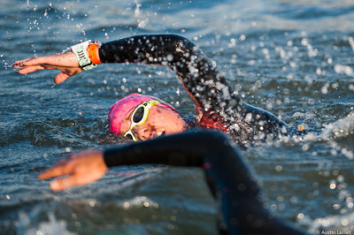 An Ironman Louisville 2016 contestant competing in the swimming portion of the race. The Ironman Louisville 2016 took place on 10-9-16 and is the 10th anniversary of the race occuring yearly in Louisville, Kentucky.