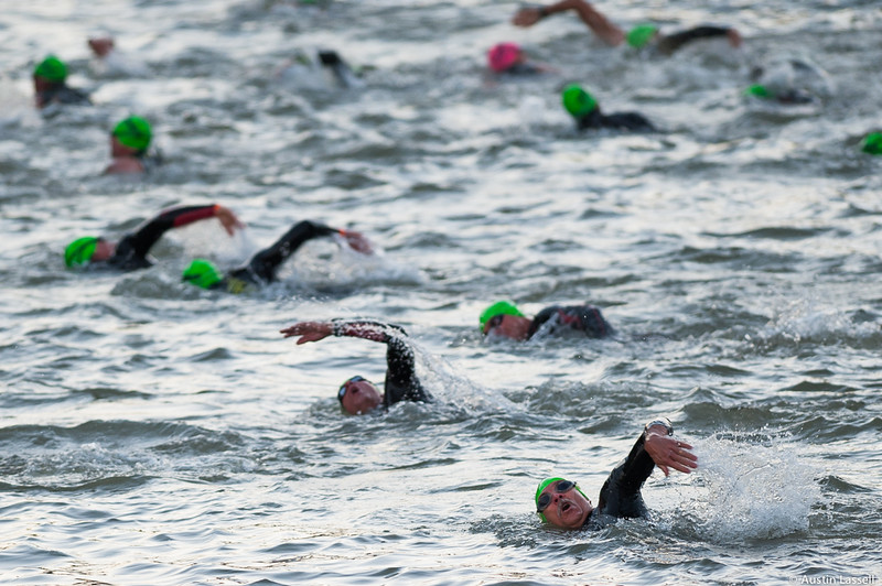 Ironman Louisville 2016 contestants headed up river at the start of the swimming portion of the race. The Ironman Louisville 2016 took place on 10-9-16 and is the 10th anniversary of the race occuring yearly in Louisville, Kentucky.