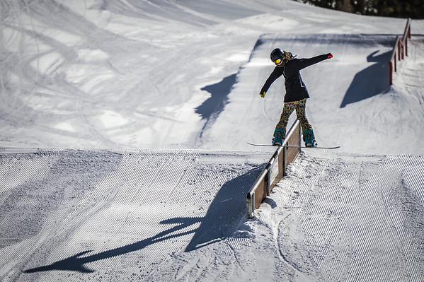 Boardslide Main Snowpark Mammoth Mountain