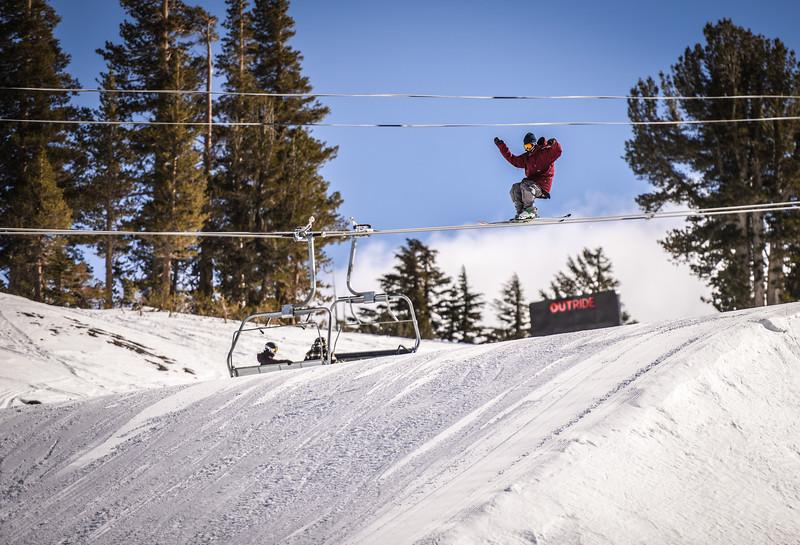 Riding the lift! Maybe? Main Snowpark Mammoth Mountain