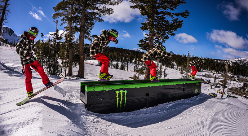 Matt boardslide Main Snowpark Mammoth Mountain