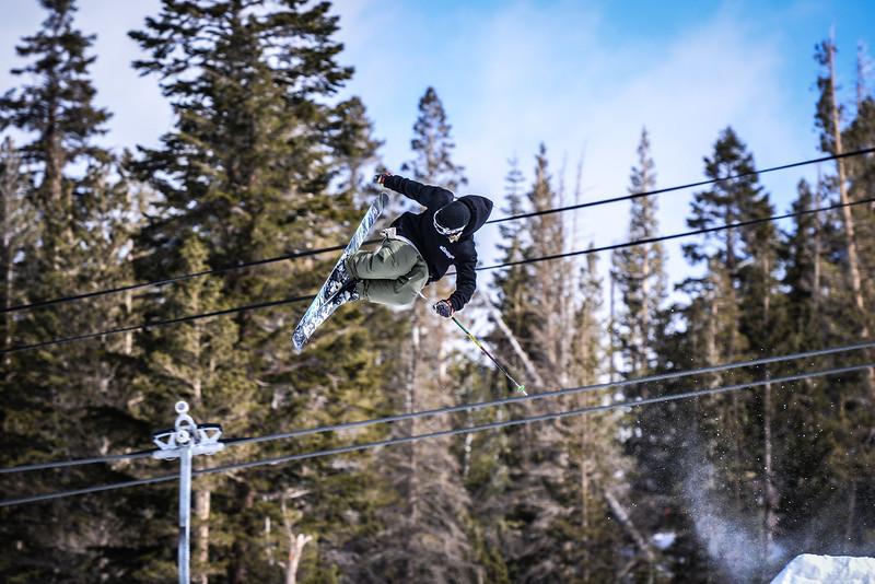Skier catching air Main Snowpark Mammoth Mountain