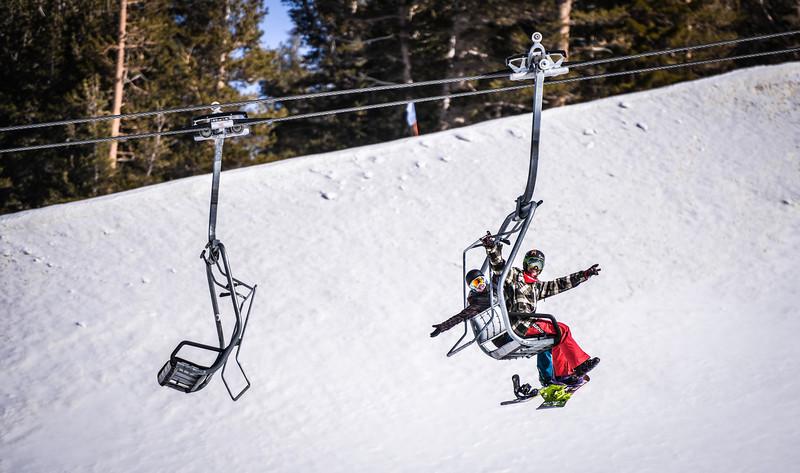 Matt and Melissa on the lift Main Snowpark Mammoth Mountain