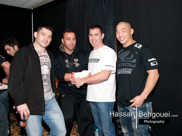 """<a href=""""http://www.HassanBehgoueiPhotography.com"""">http://www.HassanBehgoueiPhotography.com</a><br /> <br /> BFL4 Results:<br /> <br /> Main Event:<br /> WW: Matt Dwyer (6-3, Team Havoc) vs. Yusuf Njie (2-1, Revolution Fight Team)<br /> Result: Dwyer def. Njie by TKO (Referee Stoppage / Strikes), Rd. 3 [0:17]<br /> <br /> Co-Main Event:<br /> WW: Ben Cote (0-0, Carlson Gracie Team Canada) vs. Stewart Deleurme (2-1, RDC Jiu-Jitsu)<br /> Result: Deleurme def. Cote by TKO (G'n'P), Rd. 2 [1:19]<br /> <br /> Main Card:<br /> MW: Micah Brakefield (1-0, Dungeon Grappling) vs. Andre Da Silva (0-0, Axe Capoeira)<br /> Result: Brakefield def. Da Silva by Submission (RNC), Rd. 1 [1:45]<br /> <br /> FW: Oren Hanscomb (3-2, Island Warriors) vs. Ryan Ince (1-0, The Fight Pit)<br /> Result: Hanscomb def. Ince by Unanimous Decision [30-27 X3]<br /> <br /> 150lbs.: Jefferson Alvarez (0-0, Dynamic MMA) vs. Clay Gray (0-0, Dungeon Grappling)<br /> Result: Alvarez def. Gray by Unanimous Decision [29-28 X3]<br /> <br /> 160lbs.: David Kennedy (2-1, West Coast BJJ) vs. Jason Noble (1-0, Crusher Combat)<br /> Result: Kennedy def. Noble by Submission (Triangle), Rd. 1 [0:46]<br /> <br /> Undercard:<br /> <br /> 150lbs.: Emilio Ditrocchio (2-0, Posener's Pankration) vs. Alfred Leslie (1-2, Team Huge)<br /> Result: Ditrocchio def. Leslie by Submission (Armbar), Rd. 1 [1:18]<br /> <br /> 165lbs.: Rami Kadi (3-3, Wolfes) vs. Sanjeev Sharma (1-0, Island MMA)<br /> Result: Kadi vs. Sharma Ruled A No-Contest (Unintentional Foul), Rd. 1 [1:32]<br /> <br /> 165lbs.: Josh Lewis (0-1, West Vancouver Marital Arts) vs. Eli Wise (1-0, Island MMA)<br /> Result: Wise def. Lewis by Submission (Triangle), Rd. 1 [1:40]<br /> <br /> FW: Zach Koch(0-0, Universal MMA) vs. Adam Miskewitz (0-1, Team Huge)<br /> Result: Koch def. Miskewitz by Submission (RNC), Rd. 2 [0:45]<br /> <br /> BW: Joe Boldo (0-0, Crusher Combat) vs. Alex Bains (Dynamic MMA)<br /> Result: Boldo def. Bains by Split-Decision"""