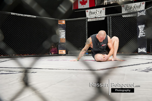 """<a href=""""http://www.HassanBehgoueiPhotography.com"""">http://www.HassanBehgoueiPhotography.com</a><br /> <br /> Main<br /> Josh Gow defeats Gary Mangat at 4:30 of the third by ref stoppage due to strikes<br /> CoMain<br /> Micah Brakefield defeats Jake Asher at 2:51 of the first round by tapout due to Triangle choke<br /> <br /> <br /> Maincard<br /> Mark Dobie defeats Jonathan Dubois at of 2:18 the first round by TKO<br /> Radley Da Silva defeats Joe Pirrotta by unanimous decision<br /> Andre Da Silva defeats Oren Hanscomb by unanimous decision – New BFL Featherweight Champ<br /> <br /> <br /> Undercard<br /> Jer Kornelsen defeats Kiarash Moghaddam at 2:50 of the first round by ref stoppge due to strikes<br /> Curtis Harriot defeats Wan Allard by 45 seconds of the first by TKO<br /> David Moon defeats Christian Allart by triangle choke at 1:16 of the second round<br /> Bradley Nicholson defeats Kevin Kellerman by unanimous decision"""
