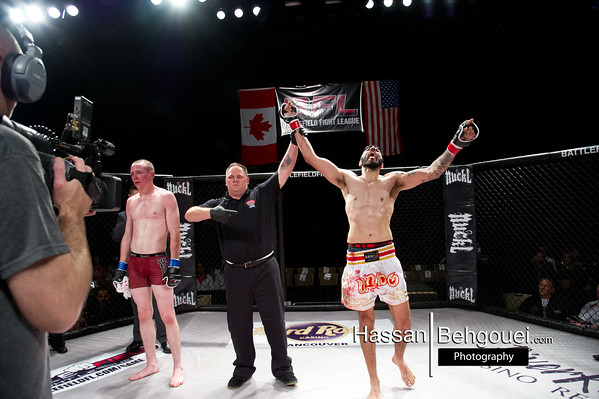 "<a href=""http://www.HassanBehgoueiPhotography.com"">http://www.HassanBehgoueiPhotography.com</a><br /> <br /> Matt Dwyer def. Demarques Johnson via TKO at 3:38 of round 2. <br /> <br /> Adam Santos def. Nathan Swayze via Rear-Naked Choke at 4:44 of round 1.<br /> <br /> Dejan Kajic def. Yannick Paré via TKO at 1:51 of round 1<br /> <br /> Dane Newell def. Russ McCumber via TKO at 1:26 of round 1 and is your new Battlefield Fight League Amateur Featherweight Champion!<br /> <br /> Chris Anderson def. Mike Crisp via TKO at 2:02 of round 2.<br /> <br /> Saied Mirzaei def. Bronson Peterson via Rear-Naked Choke at 1:55 of round 1.<br /> <br /> Shaun Dhillon def. James Foster via Split Decision, 29-28, 29-28, 28-29<br /> <br /> Perry Hayer def. Christian Tremayne via Unanimous Decision"