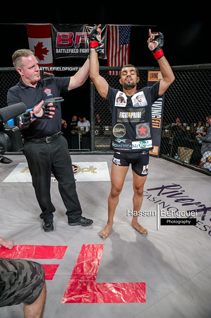 """<a href=""""http://www.HassanBehgoueiPhotography.com"""">http://www.HassanBehgoueiPhotography.com</a><br /> <br /> Mainevent<br /> Jeremy Kennedy defeats Andre Da Silva at 3:15 of the second round by tapout due to RNC<br /> Co-Main<br /> Gary Mangat defeats Blair Oster at 4:59 of the first round by RNC.<br /> Maincard<br /> Arjan Bhullar defeats Josh Morgan by unanimous decision<br /> David Perron defeats Ryan Ballingal at 1:39 ofthe first round by TKO due to strikes (on the ground).<br /> Nick Ghaeni defeats Craig Maclean at 29 seconds of the first round by TKO – Ref stoppage due to strikes. New Bantamweight Champ<br /> Bradley Nicholson defeats Cole Smith at 2:02 of the first round by doctor stoppage due to cut<br /> Undercard<br /> Ryan Leask defeats Marlan Murillo at 13 seconds by ref stoppage due to TKO<br /> Paul Cowie defeats David Cunningham at 1:15 of the first round by ref stoppage due to verbal tapout<br /> Christian Tremayne defeats Navid Mirzaei by unanimous decision<br /> Johny Gallang defeats Sohrab Said at 2:02 of the first round by TKO"""