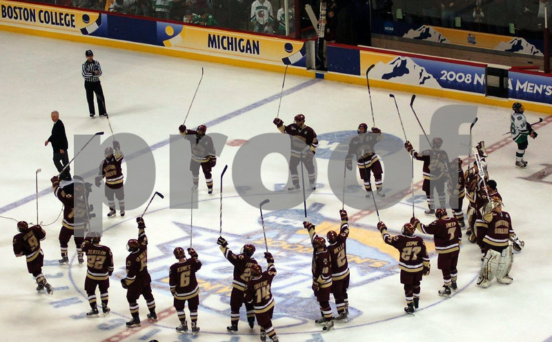 BC salutes their fans after semi-final win against University of North Dakota.