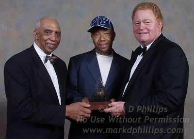 Dr Gerald Deas, Russell Simmons and Rusty Staub at AAIUH's Sportsball 2002 at the Waldorf Astoria.
