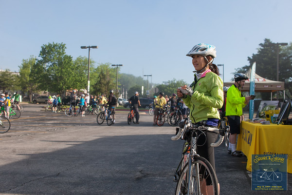 Cyclists of all ages gathered for the spring Square 2 Square Bike Ride biking the 30 miles from Fayetteville to Bentonville Square.