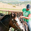 roundup cowgirls in green tshirt on horse