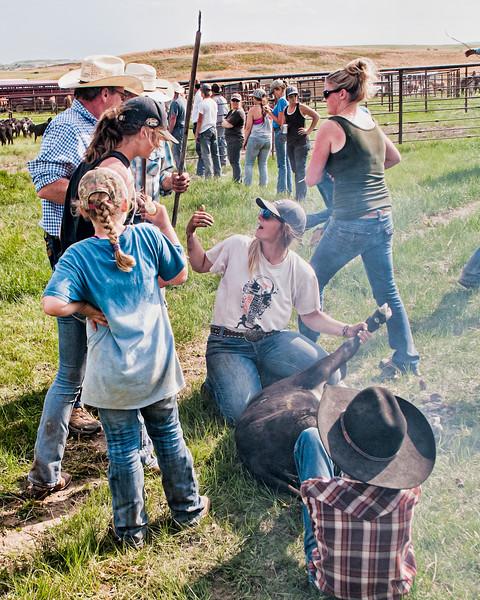 Roundup cowgirl at head cowboy at rear