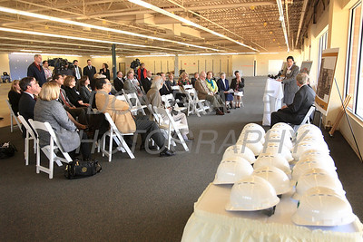 Attendees listen during a press conference to announce the new space for St. Francis Healthcare Life program at the Shipyard Center on the Riverfront, Monday, March 26, 2012 photo/ www.DonBlakePhotography.com