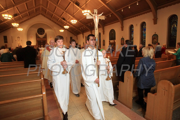 The procession out during St. Helena Church 75th Anniversary Mass, Saturday, November 5, 2011. photo/Don Blake Photography