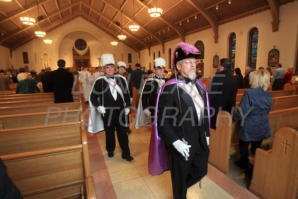The Knights of Columbus process out during St. Helena Church 75th Anniversary Mass, Saturday, November 5, 2011. photo/Don Blake Photography