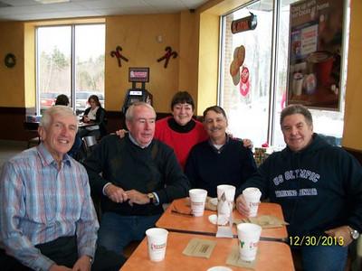 Bob Gilman  Jerry, Lorraine, Lee Fortier, Connie Dubuque @ Dunkin Donuts