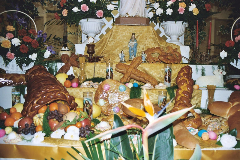 Close-up of the table at the foot of St. Joseph's statue. Italian American Heritage Foundation St. Joseph's Table celebration 2005.