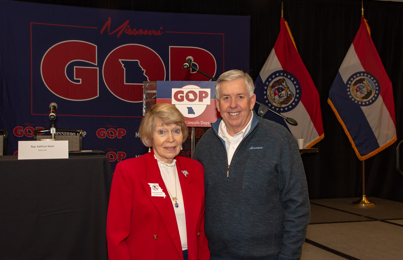Jan DeWeese with Governor Parson