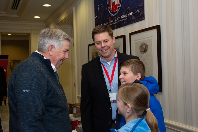 Governor  Parson with Dean Plocher and kids