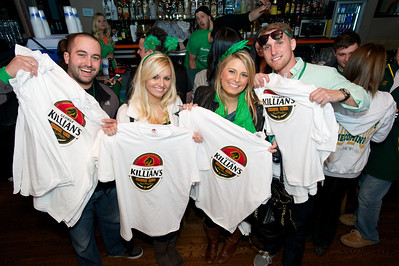 Jeff, Kate, Jess and Matt from Stagnaro Distributing at Mt Adams Pavilion for St. Patrick's Day handing out free Killian's Shirts