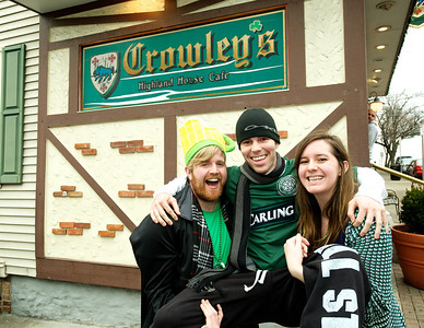 Andrew Stewart, Chris Ruth and Morgan Davenport from Covington, KY at Crowley's in Mt. Adams for St. Patrick's Day