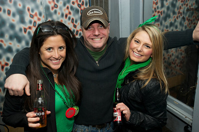Lindsey Downs, Danny K and Jessica Siegert from Cincinnati at Mt Adams Pavilion for St. Patrick's Day
