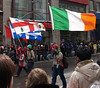 Canadian, Quebec, Montreal and Irish flags.