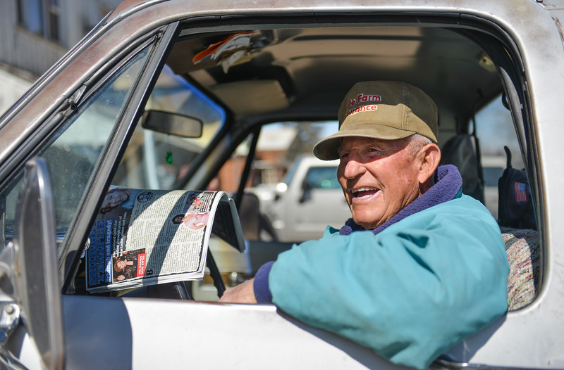 "Justin Sheely | The Sheridan Press<br /> Big Horn resident Bill Valdez waits in his 1971 Chevrolet pickup during the annual St. Patrick's Day parade in Big Horn Saturday, March 17, 2018. Residents of the unincorporated town of Big Horn take pride in their impromptu ""shortest parade in the world"" every St. Patrick's Day."