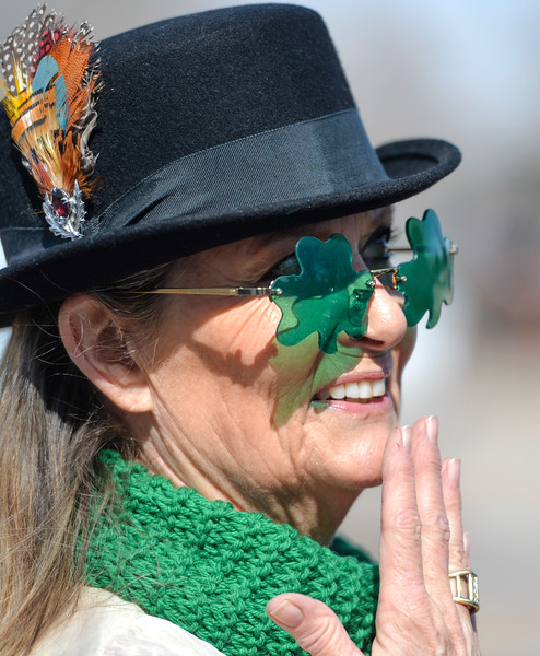 "Justin Sheely | The Sheridan Press<br /> Kate Sheehan visits during the annual St. Patrick's Day parade in Big Horn Saturday, March 17, 2018. Residents of the unincorporated town of Big Horn take pride in their impromptu ""shortest parade in the world"" every St. Patrick's Day."