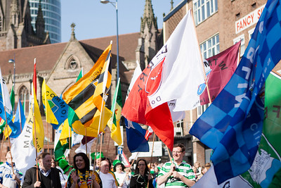 Flags flying during the Birmingham St. Patricks Festival Parade