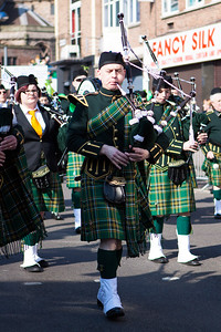 Bagpipes of the Birmingham Irish Pipes & Drums leading the parade.