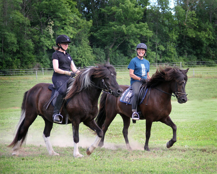 Ruth Morford riding Flygill from Vesturbaer - Deb Callaway riding Fenja from Rocking R