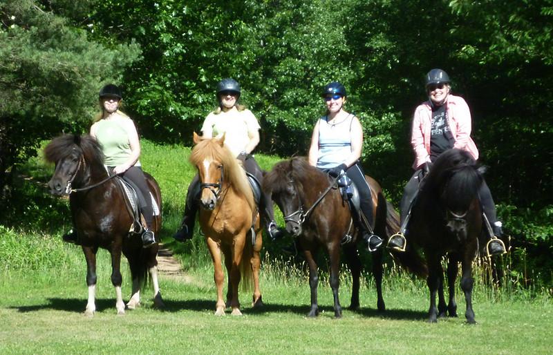 Sandy on Flygill, Andrea on Vikingur, Elisa on Kitla, and Stephanie on Ogri (<i>photo:  Steven Barber</i>)