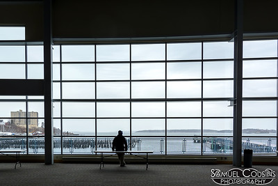 Looking out the window at the Ocean Gateway.