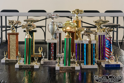 Trophies decorating the stage before the CanAm competition.