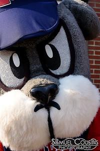 Slugger sporting a small mustache.