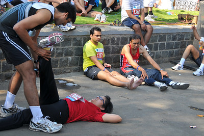 Post event exercises at the Standard Chartered Mumbai Marathon 2010. Mumbai, India. January 17, 2010.