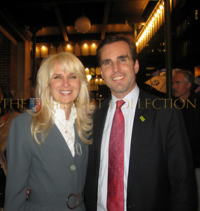 Sara HerbertGalloway and Bob Woodruff outside of Town Hall